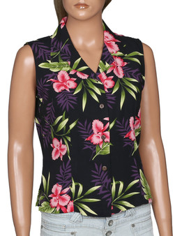 Black Okalani Sleeveless Rayon Women Shirt 100% Rayon Soft Fabric Slimming Front and Back Darts Sleeveless Comfort Fit Design Coconut Shell Buttons Color: Black Sizes: S - 2XL Made in Hawaii - USA