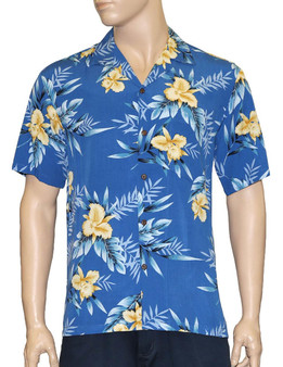 Men Aloha Blue Shirt in Rayon Okalani 100% Rayon Fabric - Soft and Classy Open Collar - Relaxed Modern Fit Coconut shell buttons - Matching left pocket Color: Blue Sizes: S - 3XL Made in Hawaii - USA