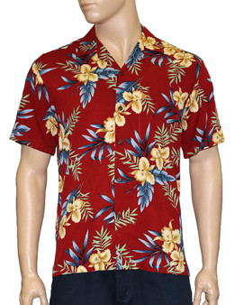 Men Aloha Red Shirt in Rayon Okalani 100% Rayon Fabric - Soft and Classy Open Collar - Relaxed Modern Fit Coconut shell buttons - Matching left pocket Color: Red Sizes: S - 3XL Made in Hawaii - USA
