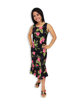 Black Okalani Hawaiian Tank Midi Dress 100% Rayon Soft Fabric Neckline Piping Hidden Back Zipper & Empire Waist Darts Front & Back - Ruffled Hemline Color: Black Sizes: XS - 2XL Made in Hawaii - USA