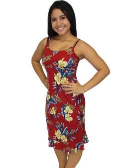 Okalani Mid Length Hawaiian Dress 100% Rayon Color: Red Sizes: XS - 2XL Empire Waist Small Ruffled Tier at Hem Made in Hawaii - USA Matching Items Available