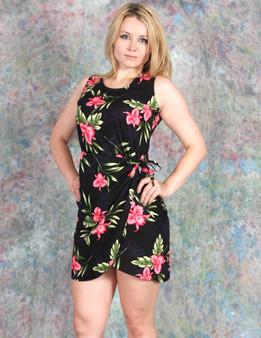Black Short Sarong Okalani Rayon Dress 100% Rayon Soft Fabric Tummy Hiding Adjustable Front Tie Back Zipper Color: Black Sizes: S - 2XL Made in Hawaii - USA