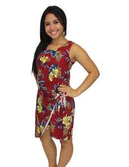 Short Sarong Hawaiian Dress Okalani 100% Rayon Soft Fabric Tummy Hiding Adjustable Front Tie Back Zipper Color: Red Sizes: S - 2XL Made in Hawaii - USA