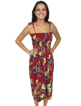 Tube-Top Rayon Mid Length Red Okalani Smocked Dress 100% Rayon Fabric Color: Red Length: 33 Inches Long Size: One Size fits most Made in Hawaii - USA