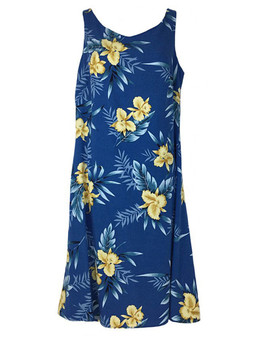 Knee Length Hawaiian Dress Okalani 100% Rayon Soft Fabric Knee Length Skinny Tank Straps Color: Blue Sizes: XS - 2XL Made in Hawaii - USA