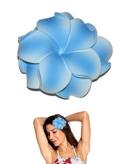 "Extra Large Flower Hair Clip Double Plumeria Blue Tropical Flower Hair Clip Design Bendable Foam - Double Flower Alligator Clip for Secure Hold Color: Blue Size: XLarge 4"" X 4"" Made in Hawaii - USA"