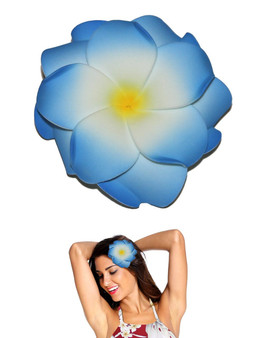 "Extra Large White Blue Flower Double Plumeria Hair Clip Tropical Flower Hair Clip Design Bendable Foam - Double Flower Alligator Clip for Secure Hold Color: White/Blue Size: XLarge 4"" X 4"" Made in Hawaii - USA"