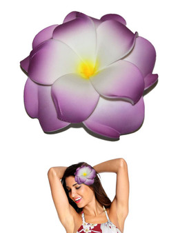 "Extra Large Flower Hair Clip Double Plumeria White Lavender Tropical Flower Hair Clip Design Bendable Foam - Double Flower Alligator Clip for Secure Hold Color: White/Lavender Size: XLarge 4"" X 4"" Made in Hawaii - USA"