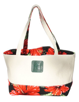 Large Reversible Black Tote Bag Designer Red Hibiscus Water Resistance Printed Canvas and Dobby Cotton Convenient Side Pocket with Zipper Reversible Fabric Design Color: Black Dimensions: 22 Inches Length x 14 Inches Height Imported