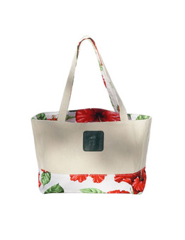 Small Reversible White Tote Bag Designer Red Hibiscus Water Resistance Printed Canvas and Dobby Cotton Convenient Side Pocket with Zipper Reversible Fabric Design Color: White Dimensions: 15 Inches Length x 9 Inches Height Imported