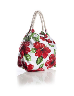 White Tote Handbag Tropical Flirt Red Hibiscus Heavy Dobby Cotton Thick Cotton Rope Handles Color: White Size: 18 Inches W x 16 Inches H Machine Washable Imported