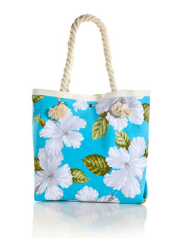"""White Hibiscus Aqua Tote Handbag Tropical Flirt Heavy Dobby Cotton Material Thick Cotton Rope Handles Satin Nylon Lining (Leaf Green> Inner Pocket and Magnetic Snap Closure Color: Aqua Size: 15""""W x 13""""H x 4""""D A Mon-Chi Haus Designer Handbags Machine Washable Imported"""