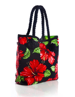 """Red Hibiscus Black Tote Handbag Tropical Flirt Heavy Dobby Cotton Material Thick Cotton Rope Handles Satin Nylon Lining (Leaf Green> Inner Pocket and Magnetic Snap Closure Color: Black Size: 15""""W x 13""""H x 4""""D A Mon-Chi Haus Designer Handbags Machine Washable Imported"""