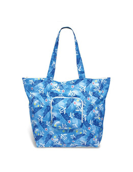 Honu Island Floral Deluxe Foldable Tote 400D Polyester Material Lightweight and Durable Easy to Store & Travel Front Zip Pocket & Suitcase Fastener Folds into Square Pouch - 6x6 Inch Open Measures Approx. - 21x15x6 Inches Color: Blue Imported