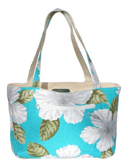 Large Reversible Aqua Tote Bag Designer White Hibiscus Water Resistance Printed Canvas and Dobby Cotton Convenient Side Pocket with Zipper Reversible Fabric Design Color: Aqua Dimensions: 22 Inches Length x 14 Inches Height Imported