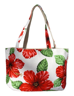 Large Reversible White Tote Bag Designer Red Hibiscus Water Resistance Printed Canvas and Dobby Cotton Convenient Side Pocket with Zipper Reversible Fabric Design Color: White Dimensions: 22 Inches Length x 14 Inches Height Imported