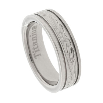 Titanium Ring with Etched Hawaiian Tropical Design 6mm