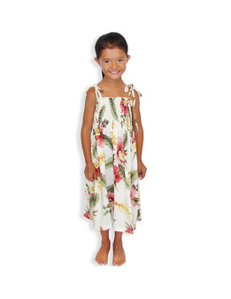 """Girls Smock Tube Top Dress Orchid Pu'a 100% Rayon Fabric Color: Beige Sizes: S(21""""), M(24""""), L(28"""") Length from Bust Fit 3 - 12 Years Old Made in Hawaii - USA"""