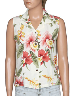 Orchid Pua Sleeveless Hawaiian Blouse 100% Rayon Soft Fabric Slimming Front and Back Darts Sleeveless and Comfort Fit Design Coconut Shell Buttons Colors: Beige Sizes: S - 2XL Made in Hawaii - USA