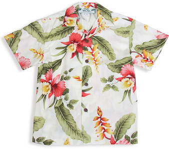 Orchid Pua Boy's Rayon Hawaiian Shirt 100% Rayon Fabric Color: Beige Sizes: 1 - 14 Made in Hawaii - USA