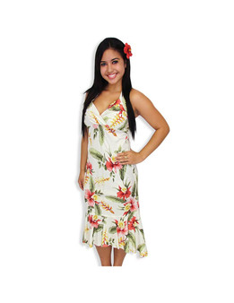 Beige Orchid Pu'a Island Mid Length Rayon Dress 100% Rayon Fabric Halter Neckline with Adjustable Straps Pullover Bias Fit Dress with Elastic Back Crossover V Neckline Ruffled Tier at Hem Made in Hawaii - USA