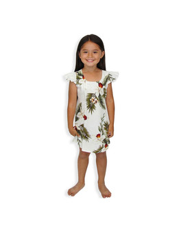 Girls Hawaiian Orchids Sundress Hanapepe 100% Rayon Fabric Round Neckline and Ruffled Sleeves A-Line Shape and Back Zipper Adjustable Ties Color: White Sizes: 2 - 14 Made in Hawaii - USA