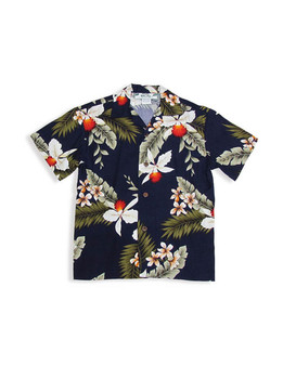 Navy Hawaiian Rayon Shirt for Boys - Hanapepe 100% Rayon Fabric Coconut Shell Buttons  Relaxed Fit, No Pocket  Color: Navy Sizes: 1 - 16 Made in Hawaii - USA