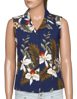 Orchids Hanapepe Aloha Sleeveless Rayon Blouse 100% Rayon Soft Fabric Slimming Front and Back Darts Sleeveless and Comfort Fit Design Coconut Shell Buttons Colors: Navy Sizes: S - 2XL Made in Hawaii - USA