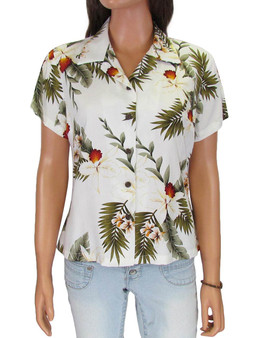 Tropical Rayon Hanapepe Blouse 100% Rayon Fabric Short Sleeves - Pointed Collar Front and Back Shaping Darts Coconut shell buttons Color: White Sizes: S - 4XL Made in Hawaii - USA