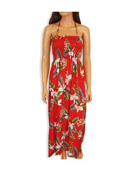 Tube Top Maxi Long Smock Floral Dress Hanapepe To Wear with Straps or Strapless 100% Rayon Fabric Style: Long Maxi Color: Red Length: 47-48 Inches From Bust Line Size: One Size fits most Made in Hawaii - USA