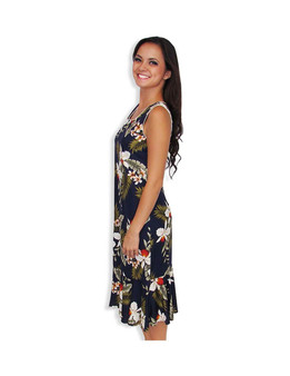 Hawaiian Tank Dress Mid Length Hanapepe Navy 100% Rayon Soft Fabric Neckline Piping Hidden Back Zipper & Empire Waist Darts Front & Back - Ruffled Hemline Color: Navy Sizes: XS - 2XL Made in Hawaii - USA