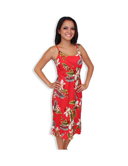 Midi Rayon Aloha Spaghetti Straps Red Dress Hanapepe 100% Rayon Fabric Spaghetti Thin Shoulder Straps Round Neckline and Easy Pull-Over Bias Fit Empire Waist and Ruffled Hemline Color: Red Sizes: XS - 2XL Made in Hawaii - USA