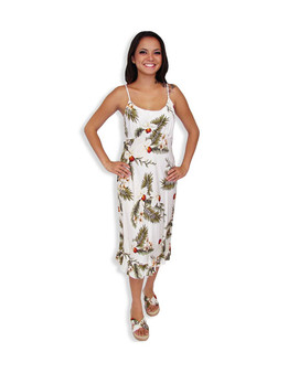 Spaghetti Mid Length White Hawaiian Dress Hanapepe 100% Rayon Fabric Spaghetti Thin Shoulder Straps Round Neckline and Easy Pull-Over Bias Fit Empire Waist and Ruffled Hemline Color: White Sizes: XS - 2XL Made in Hawaii - USA