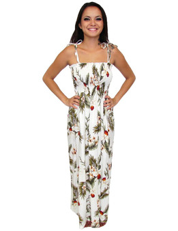 Hanapepe Long Island Single Size Aloha White Dress 100% Rayon Color: White Length: 47-48 Inches From Bustline Size: One Size fits most Made in Hawaii - USA