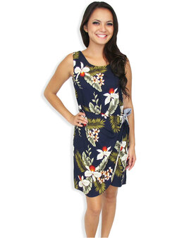 Short Sarong Hanapepe Orchids Navy Dress