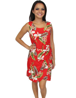 Short Sarong Rayon Red Dress Hanapepe