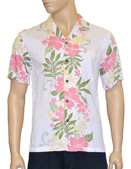 Lokelani Rayon Aloha Shirt White 100% Rayon Fabric - Soft and Classy Open Collar - Relaxed Modern Fit Coconut shell buttons - Matching left pocket Color: White Sizes: S - 3XL Made in Hawaii - USA