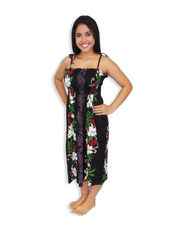 """Lokelani Mid-length Tube Top Rayon Smocked Dress 100% Rayon Color: Black Length: 33"""" (mid size) Size: One Size fits most Made in Hawaii - USA Matching Items Available"""