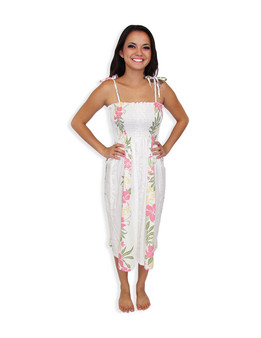 Tube Top Smock Hawaiian Dresses Lokelani 100% Rayon Fabric Smocked Tube Top Design Tie On Shoulder or Halter Style Wear Strapless Option  Color: White Length: 33 Inches Long Size: One Size Dress Made in Hawaii - USA
