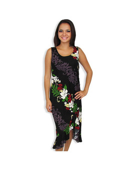 Black Lokelani Tank Ruffled Resort Mid Length Dress 100% Rayon Fabric Color: Black Sizes: XS - 3XL Side Zipper Design Scoop Neckline Ruffled Tier at Hem Made in Hawaii - USA