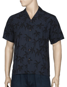 Aloha Palms White Rayon Shirt for Men 100% Rayon Fabric - Soft and Classy Open Collar - Relaxed Modern Fit Coconut shell buttons - Matching left pocket Colors: Black Sizes: S - 4XL Made in Hawaii - USA