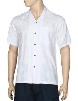 White Aloha Palms Rayon Men Tropical Shirt 100% Rayon Soft Fabric Matching Left Pocket Coconut shell buttons Color: White Sizes: S - 4XL Made in Hawaii - USA