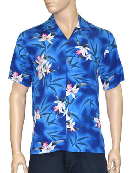 Blue Hawaii Rayon Shirt Orchids 100% Rayon - Soft and Classy Open Collar - Relaxed Modern Fit Coconut shell buttons - Matching left pocket Color: Blue Sizes: S - 3XL Made in Hawaii - USA