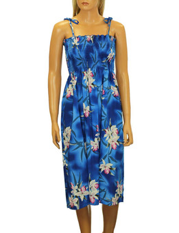 Blue Hawaiian Smocked Tube Top Midi Rayon Dress To Wear with Straps or Strapless 100% Rayon Fabric Style: Knee Length Color: Blue Length: 33-34 Inches From Bust Line Size: One Size fits most Made in Hawaii - USA