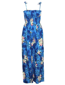 Maxi Blue Hawaiian Smocked Tube Top Rayon Dress To Wear with Straps or Strapless 100% Rayon Fabric Style: Long Maxi Color: Blue Length: 47-48 Inches From Bust Line Size: One Size fits most Made in Hawaii - USA