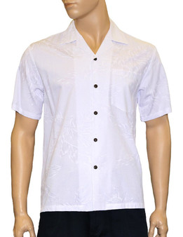White Wedding Aloha Shirt Lehue 100% Rayon Fabric - Soft and Classy Open Collar - Relaxed Modern Fit Coconut shell buttons - Matching left pocket Color: Ivory Sizes: S - 3XL Made in Hawaii - USA