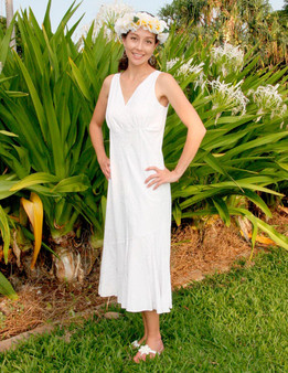 White Wedding Lehue V- Neck Mid Length Dress 100% Rayon Color: White Sizes: XS - 3XL Made in Hawaii - USA Matching Items Available