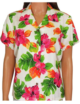 Rayon Hawaiian Blouse - Water Hibiscus 100% Rayon Coconut shell buttons Colors: White Sizes: S - 2XL Made in Hawaii - USA Matching Items Available