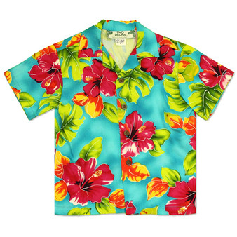 Boy's Hawaiian Shirt Water Hibiscus 100% Rayon Colors: Teal Sizes: 1 - 14 Made in Hawaii - USA Matching Items Available