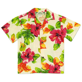 Boy's Hawaiian Shirt Water Hibiscus 100% Rayon Colors: White Sizes: 1 - 14 Made in Hawaii - USA